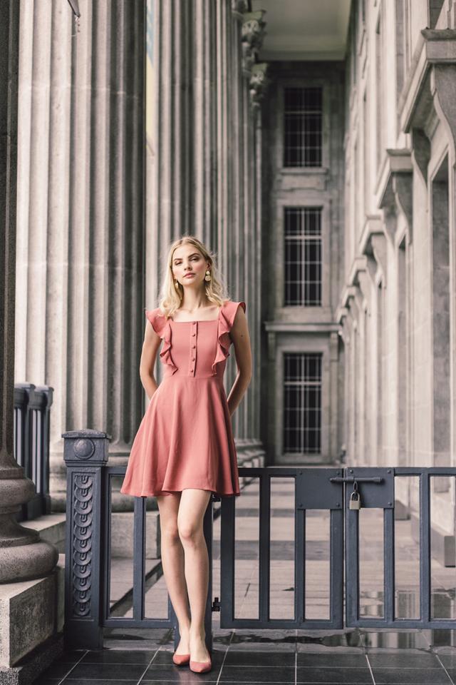 Rylene Ruffled Button Skater Dress in Salmon Pink (XL)