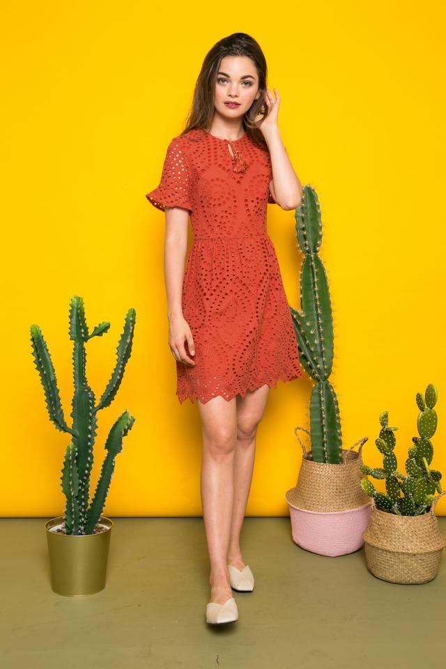 Mairi Eyelet Tassel Dress in Burnt Orange (XS)