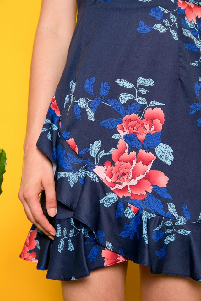 Carmella Floral Ruffles Dress in Navy