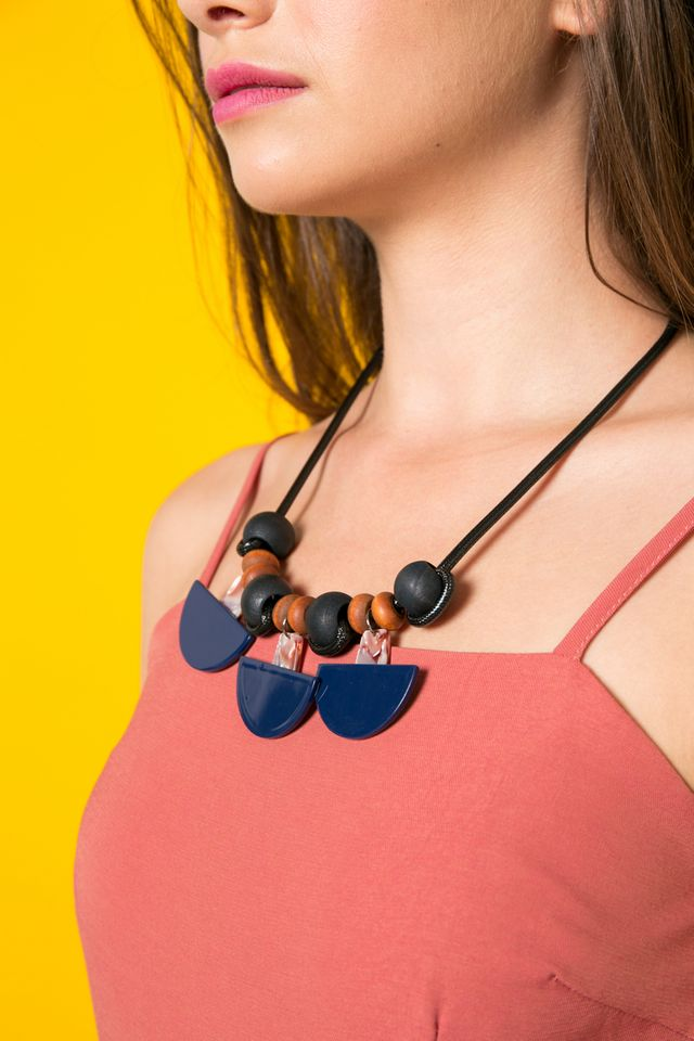 Caax Geometric Bead Necklace in Navy