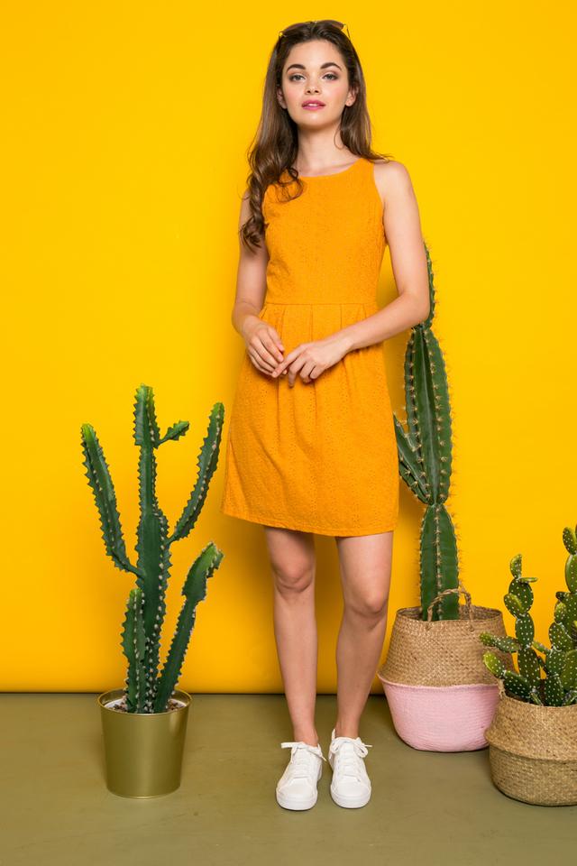 Isra Eyelet Sheath Dress in Mustard