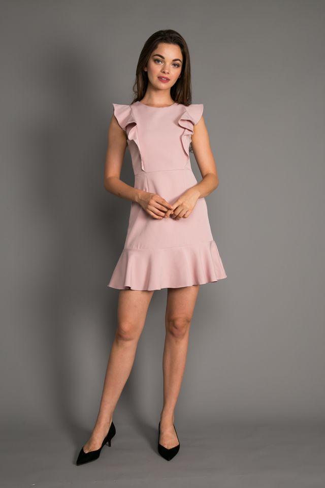 Holden Ruffled Hem Dress in Dusty Pink (XL)