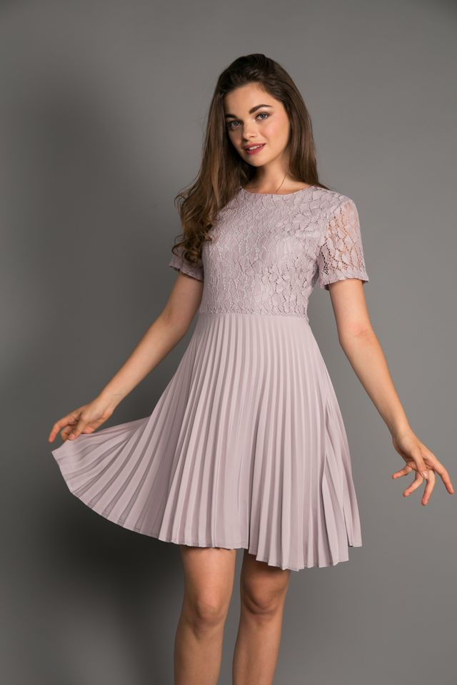 Grania Lace Pleated Dress in Lilac Grey