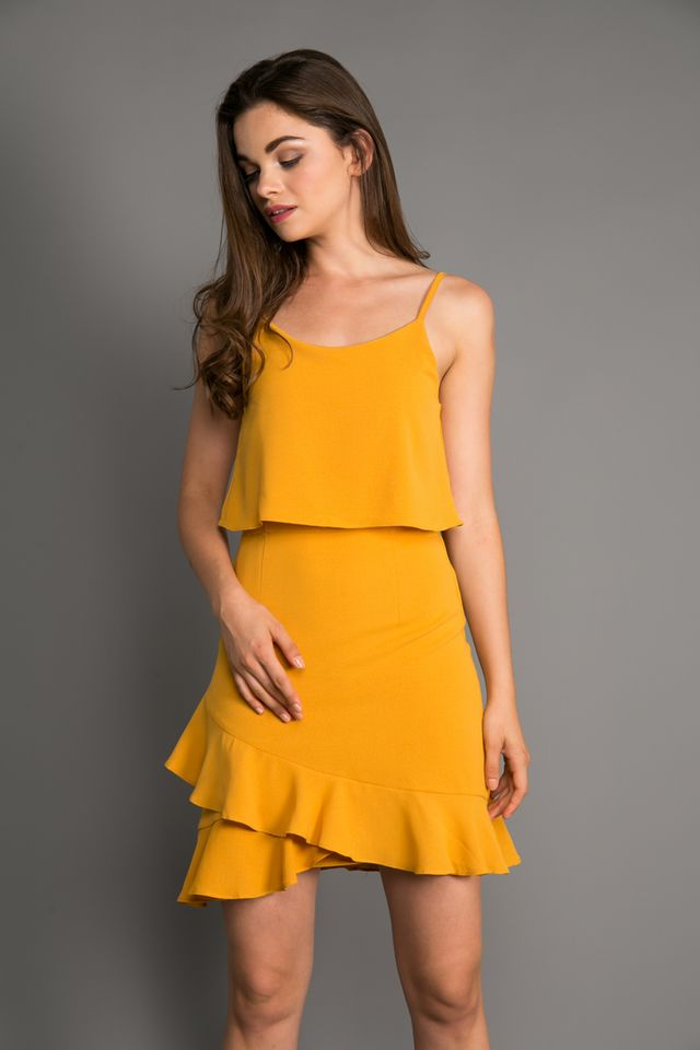 Marion Layered Ruffle Hem Dress in Mustard (XL)