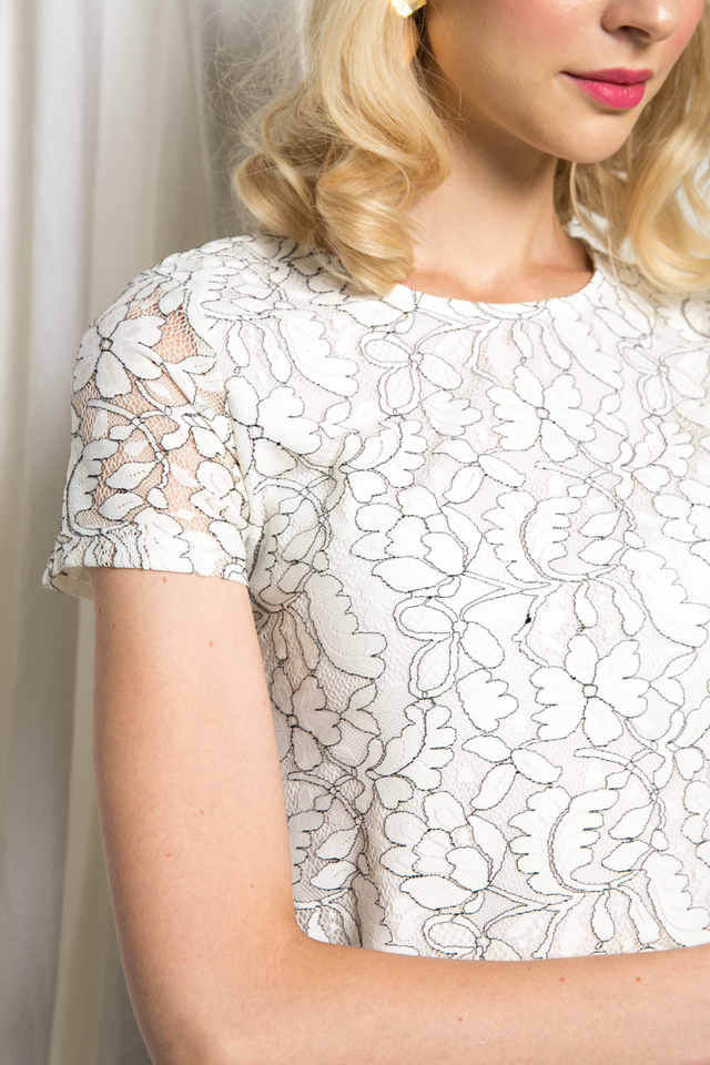 Espe Lined Lace Crop Top in White