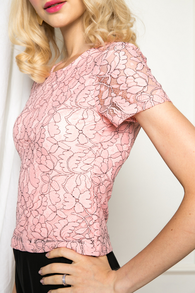 Espe Lined Lace Crop Top in Pink