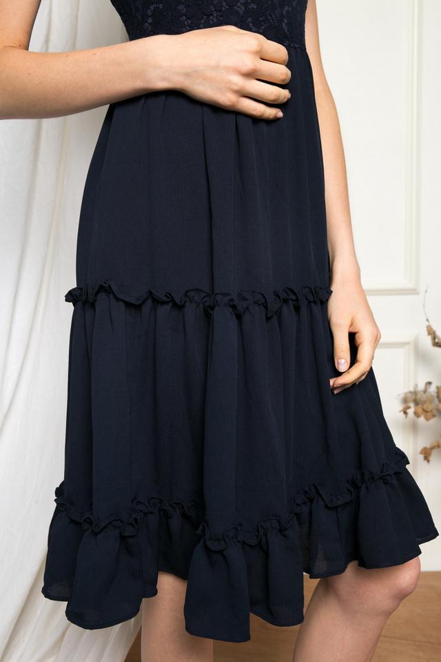 Gwendolen Lace Tiered Ruffles Dress in Navy