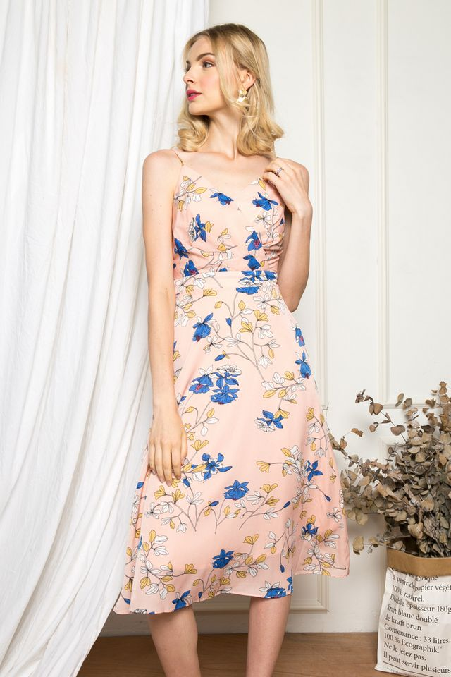 Nesryn Floral Midi Dress in Peach Pink (L)