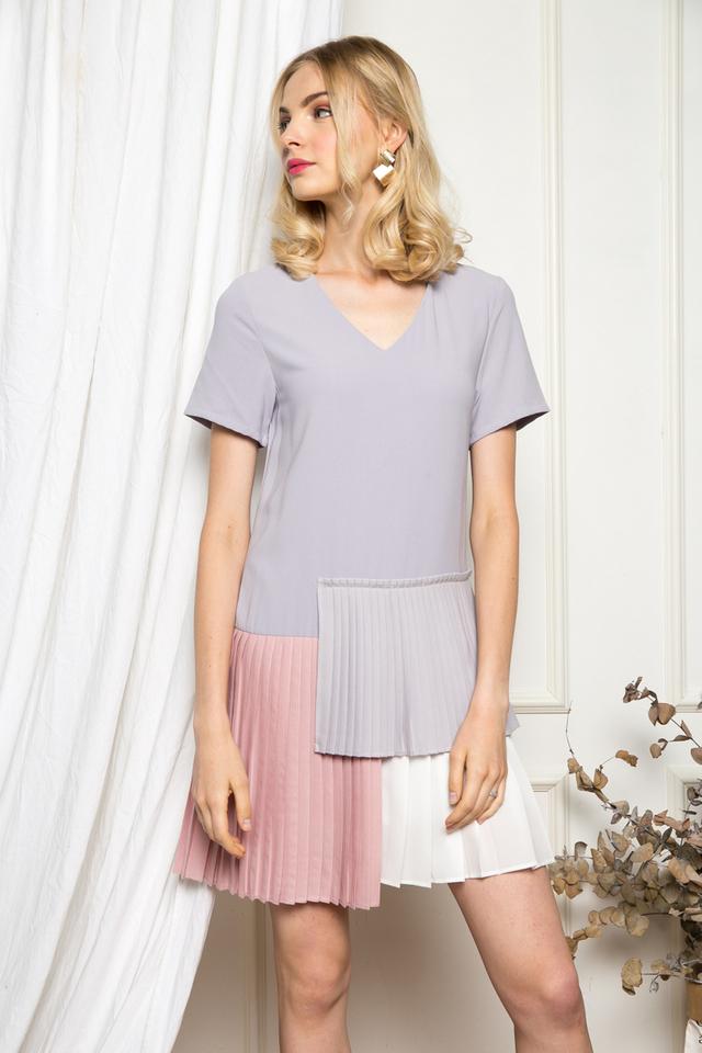 Altin Colourblock Pleated Dress in Lilac Grey (XS)