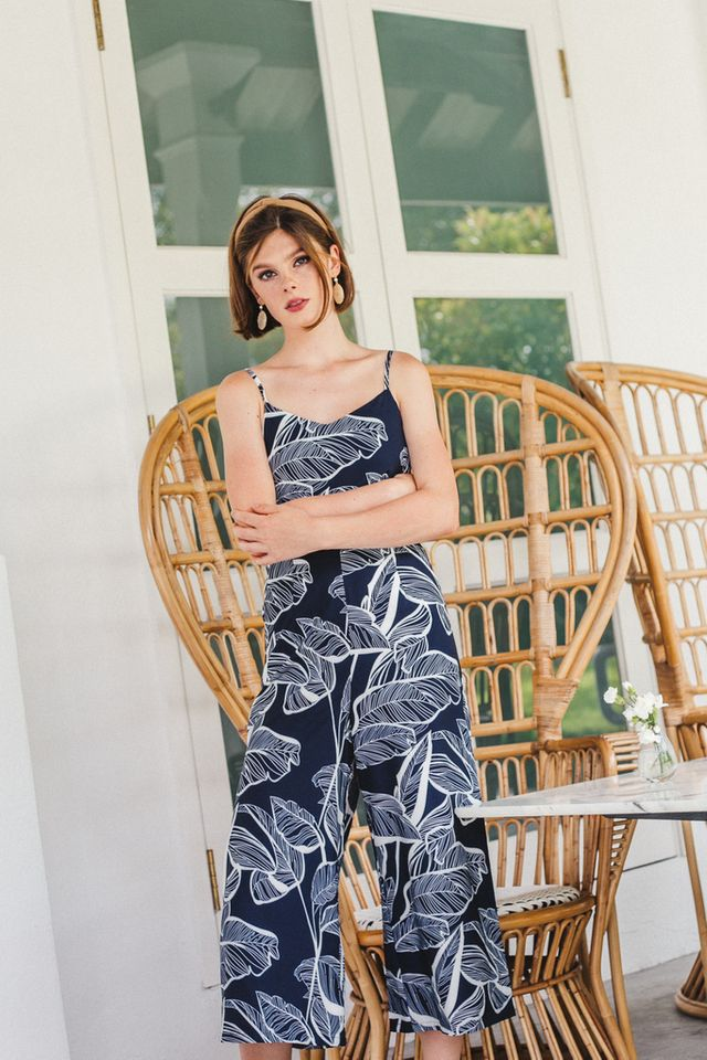 Nyree Foliage Jumpsuit in Navy (XS)