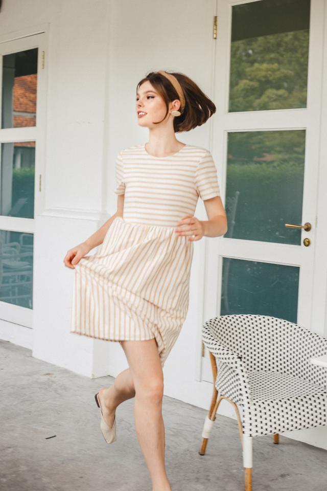 Autry Striped Midi Dress in Sand (XS)