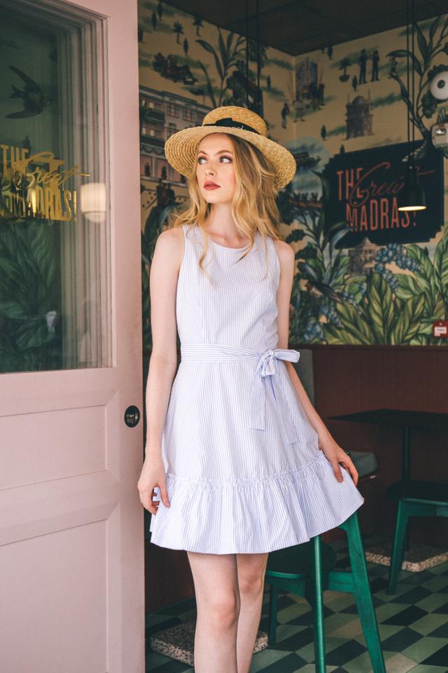 Alisenne Striped Ruffles Dress in White
