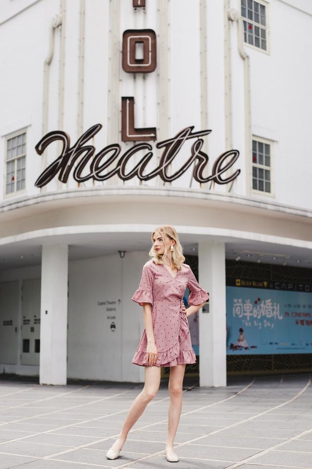 Serafina Polka Dot Ruffles Dress in Rouge