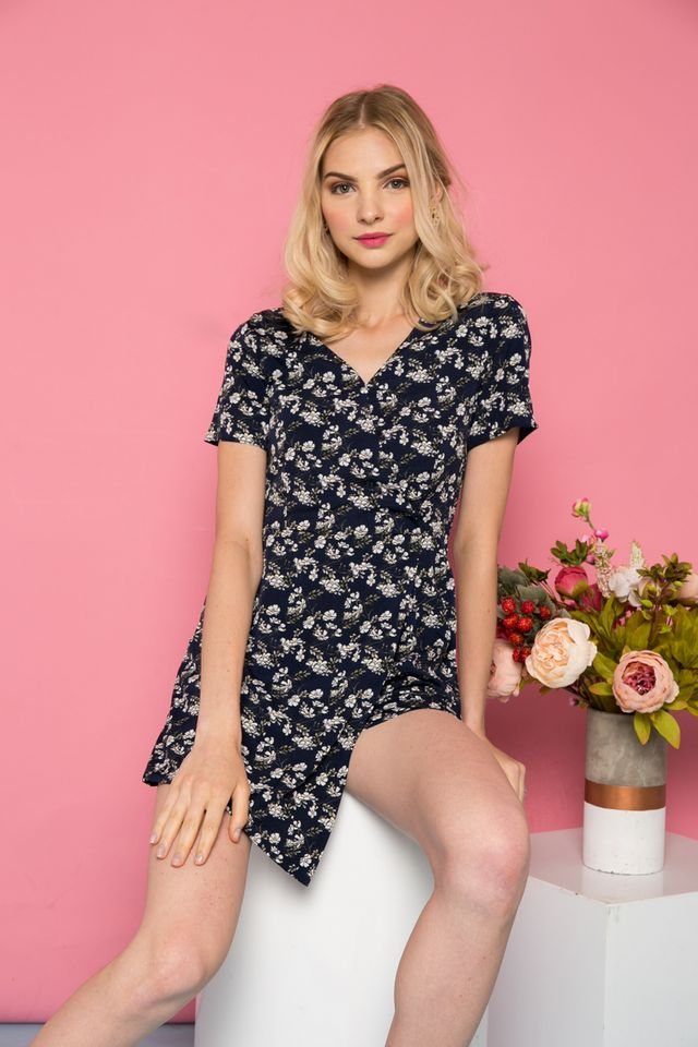 Thorin Floral Overlay Romper in Navy (XS)