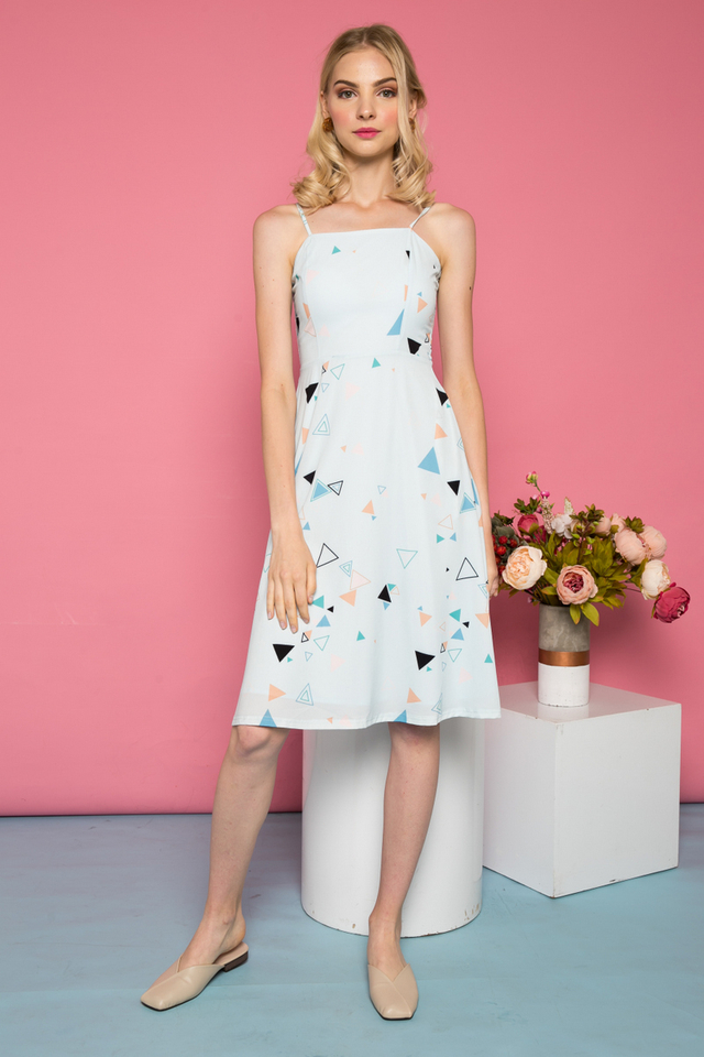 Laelynn Geometric Midi Dress in Light Blue