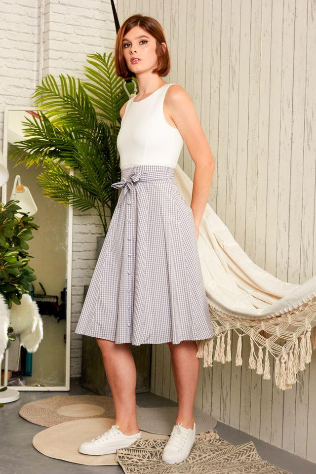 Tresa Button Down Gingham Dress in Grey (XS)