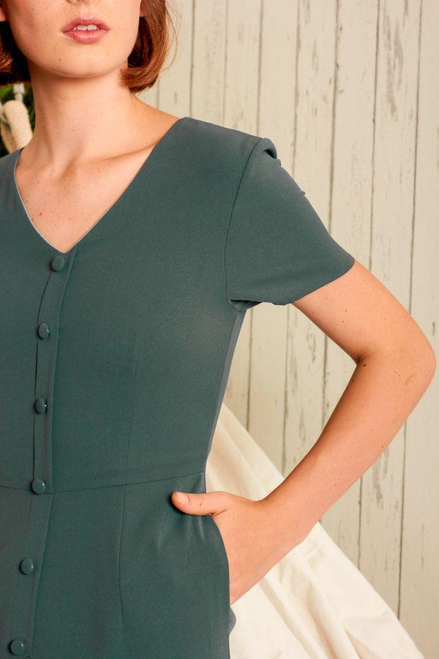 Abella Button Down Jumpsuit in Dark Emerald (XS)