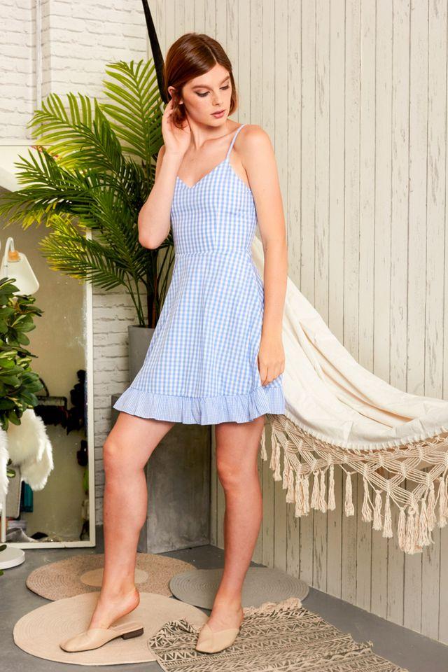 Lotta Gingham Skater Dress in Sky Blue (XL)