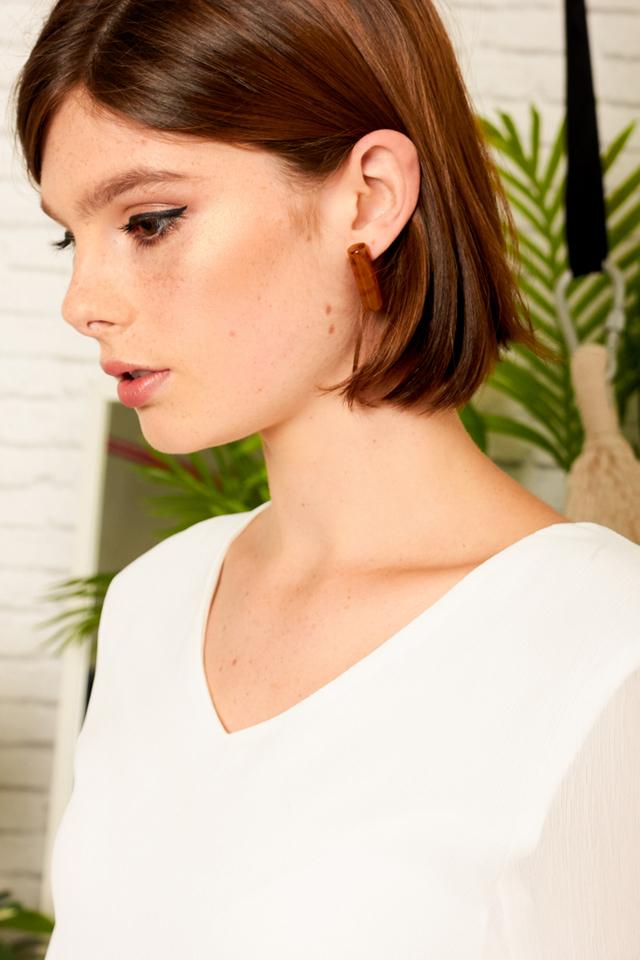 Chiara Marble Earrings in Brown