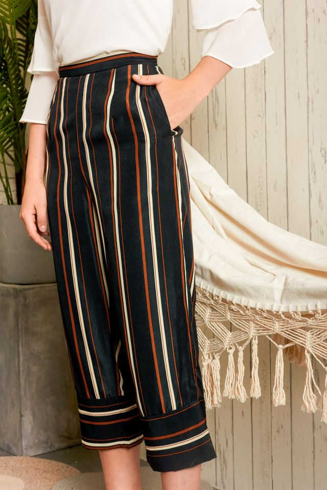 Lucca Striped Culottes in Forest