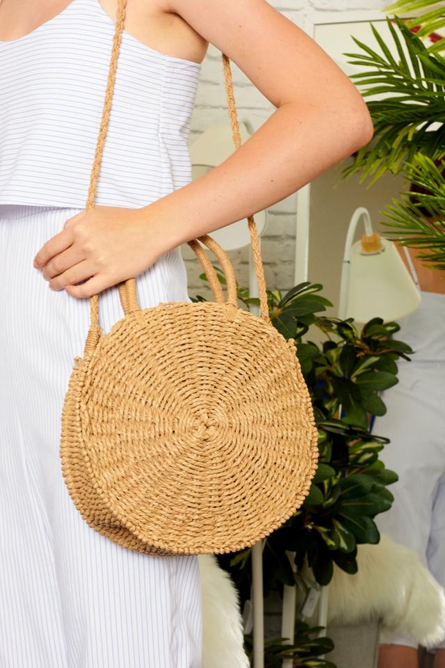 Cressa Round Straw Bag in Brown