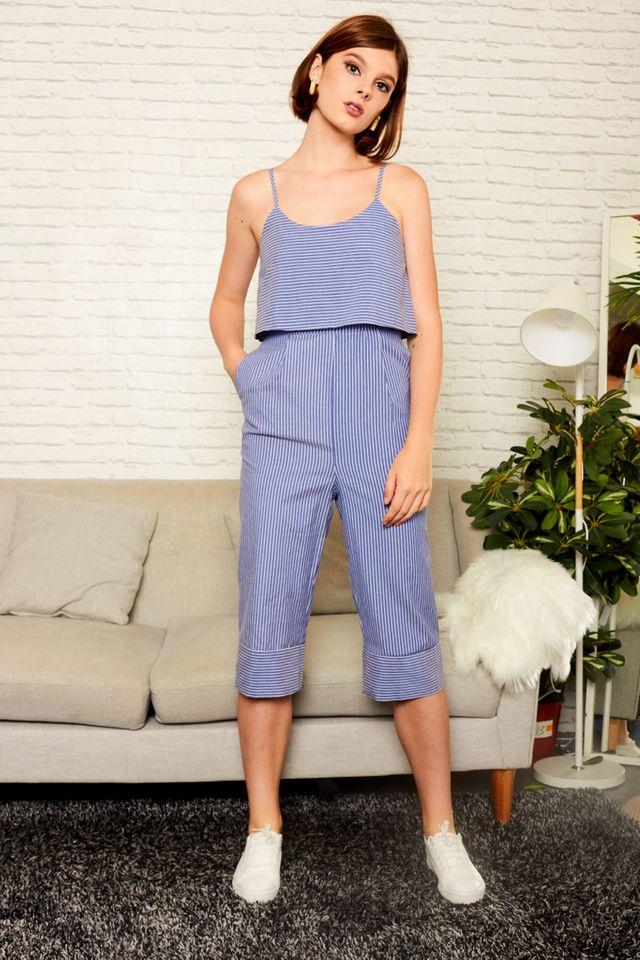 Deene Layered Striped Jumpsuit in Blue (L)