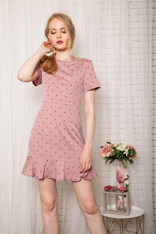 Jora Polka Dot Sheath Dress in Rouge (XS)