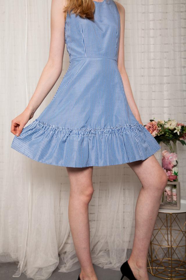 Alisenne Striped Ruffles Dress in Blue (XS)