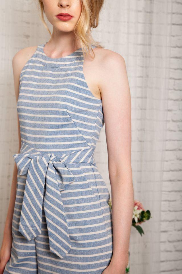 Keela Striped Halter Jumpsuit in Cornflower Blue (XL)