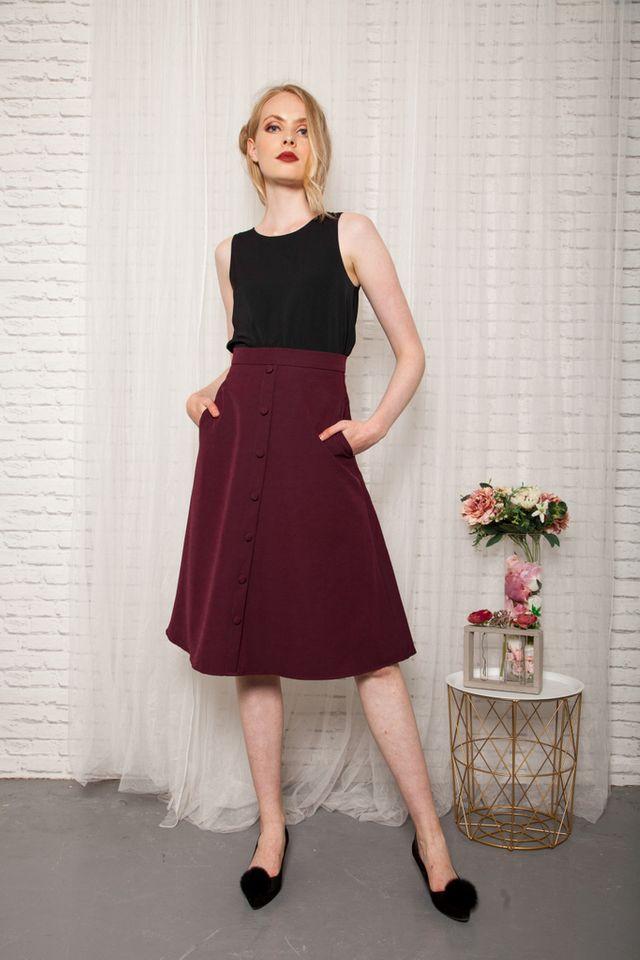 Odessa Button Down Midi Skirt in Burgundy (XS)