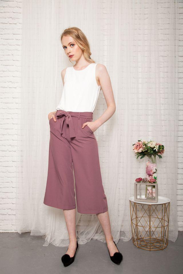 Taye Wide Leg Culottes in Dusty Rose