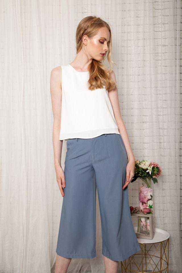 Taye Wide Leg Culottes in Steel Blue (XL)