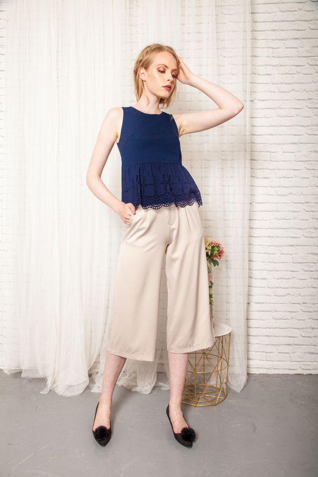 Gracelynn Satin Culottes in Cream (XL)