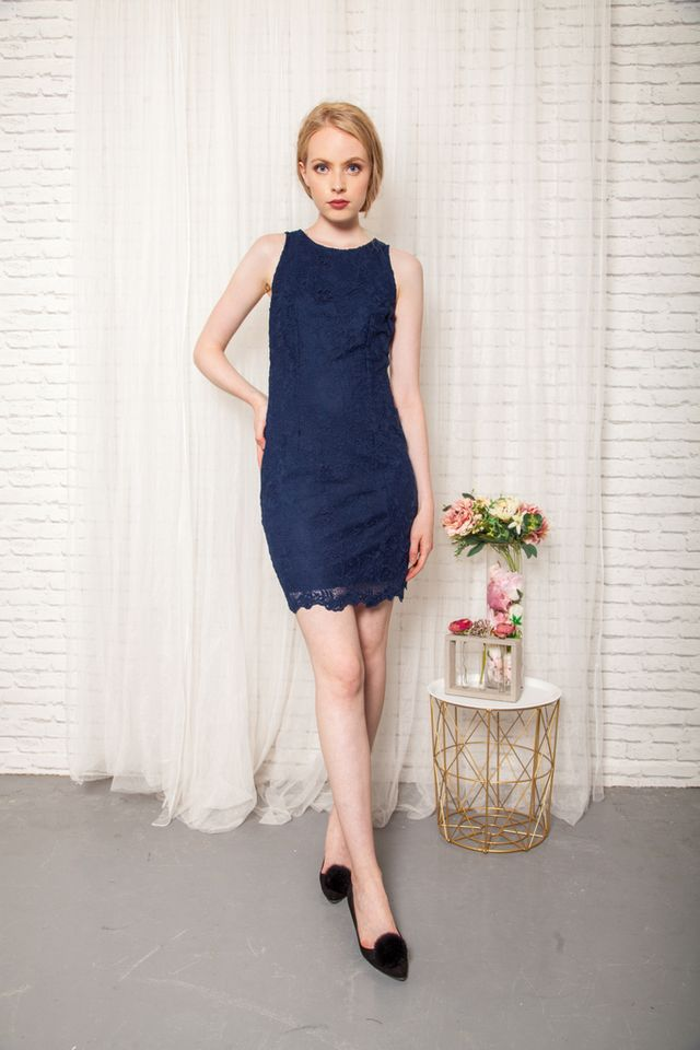 Erine Floral Lace Sheath Dress in Navy