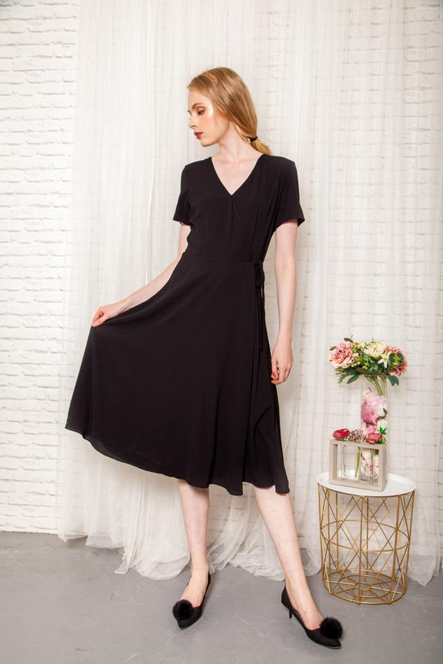 Joslyn Faux Wrap Midi Dress in Midnight Black