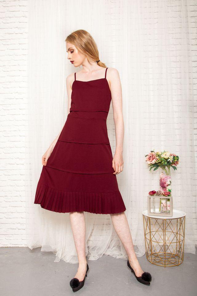 Jaslene Layered Pleated Dress in Maroon (L)
