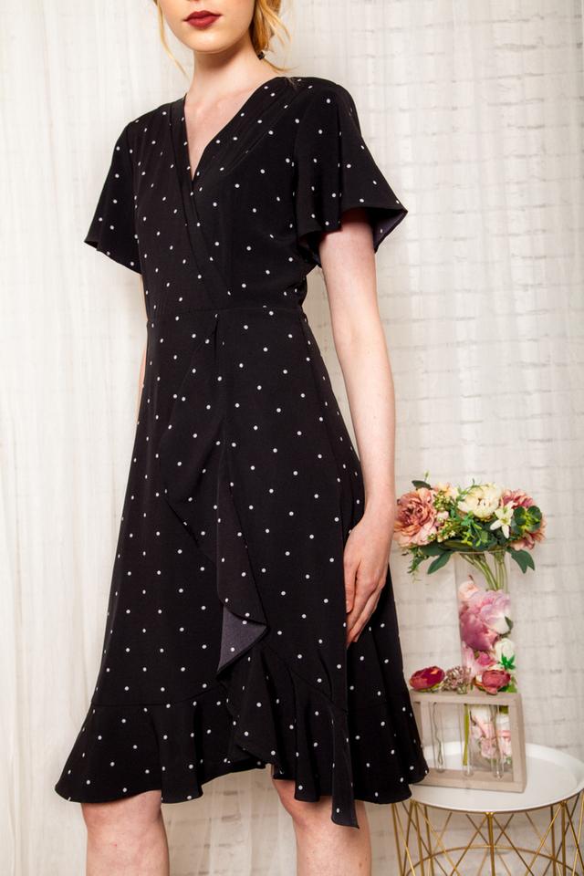 Cherie Faux Wrap Polka Dot Dress in Black (XS)
