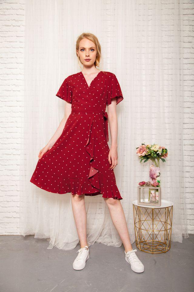 Cherie Faux Wrap Polka Dot Dress in Red (XS)