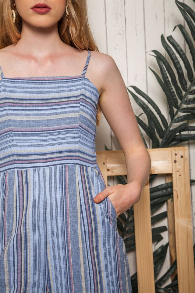 Mitra Striped Jumpsuit in Blue