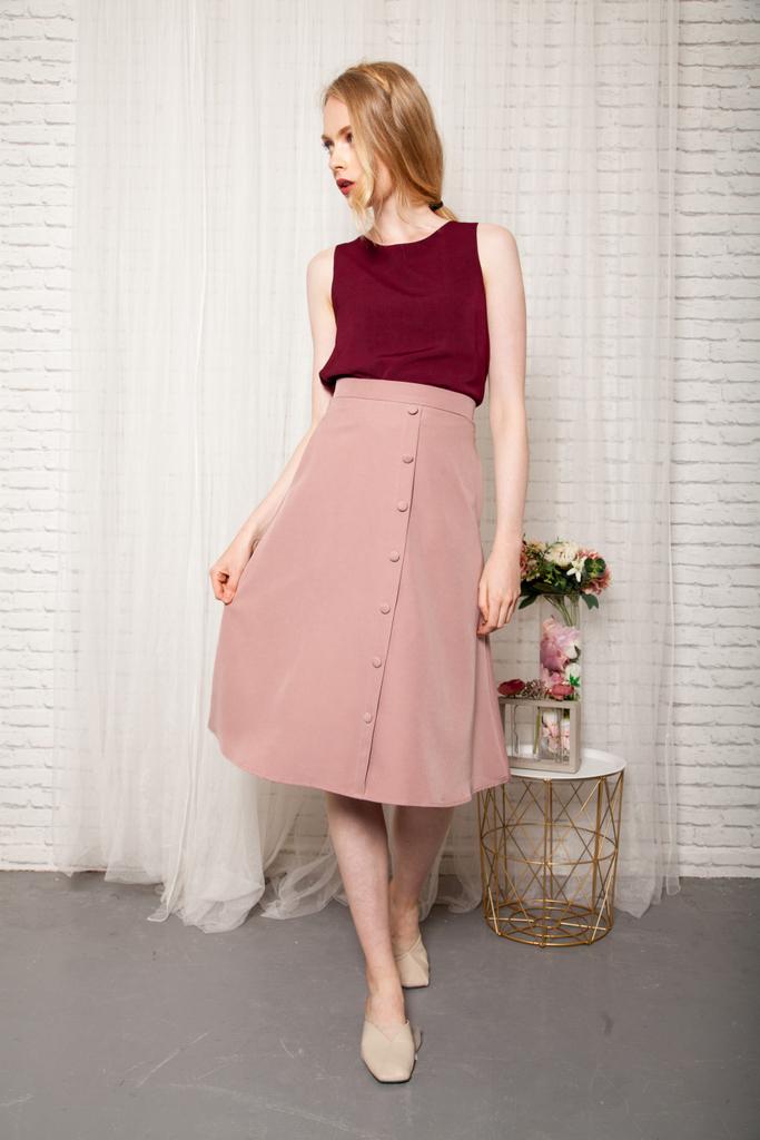 37ffedf039 Odessa Button Down Midi Skirt in Dusty Pink