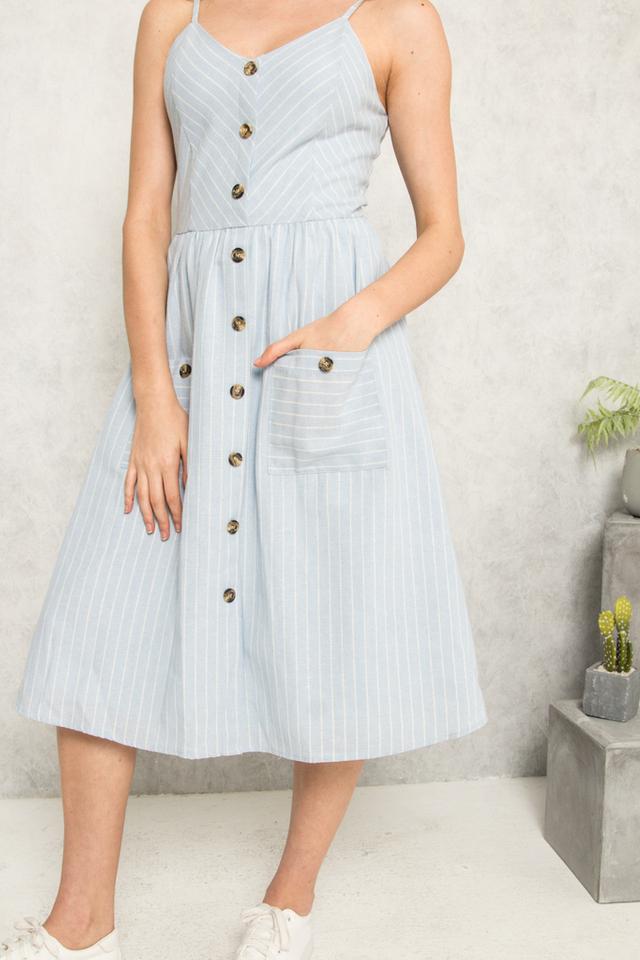 Aurelien Striped Button Midi Dress in Light Blue (L)