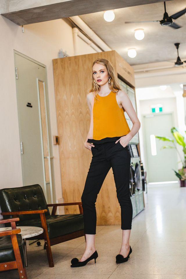 Ondrea Slim Fit Work Pants in Black