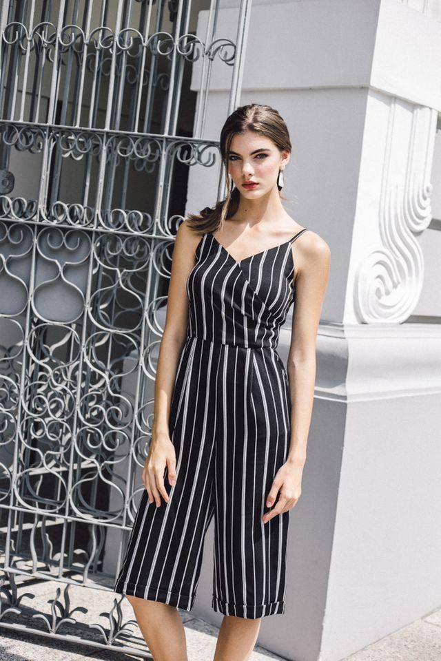 Penthia Faux Wrap Pinstripe Jumpsuit in Black (L)