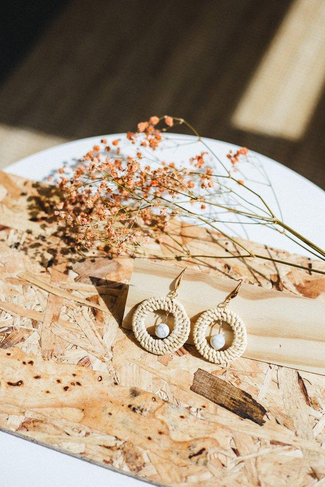 Arza Marble Straw Earrings