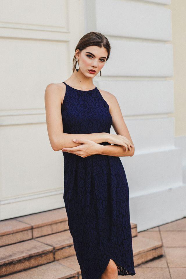 Delphia Lace Petal Midi Dress in Navy (L)