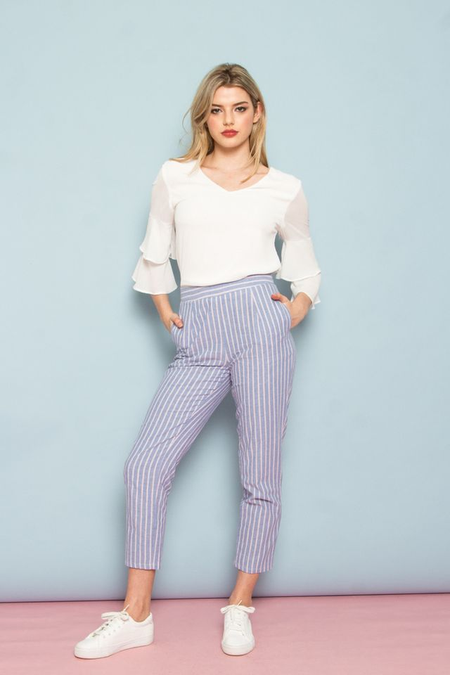 Culley High Waisted Stripe Pants in Blue