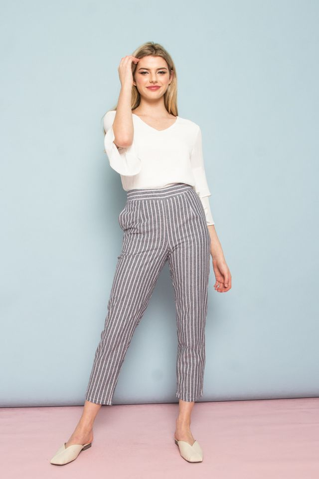 Culley High Waisted Stripe Pants in Ash Grey