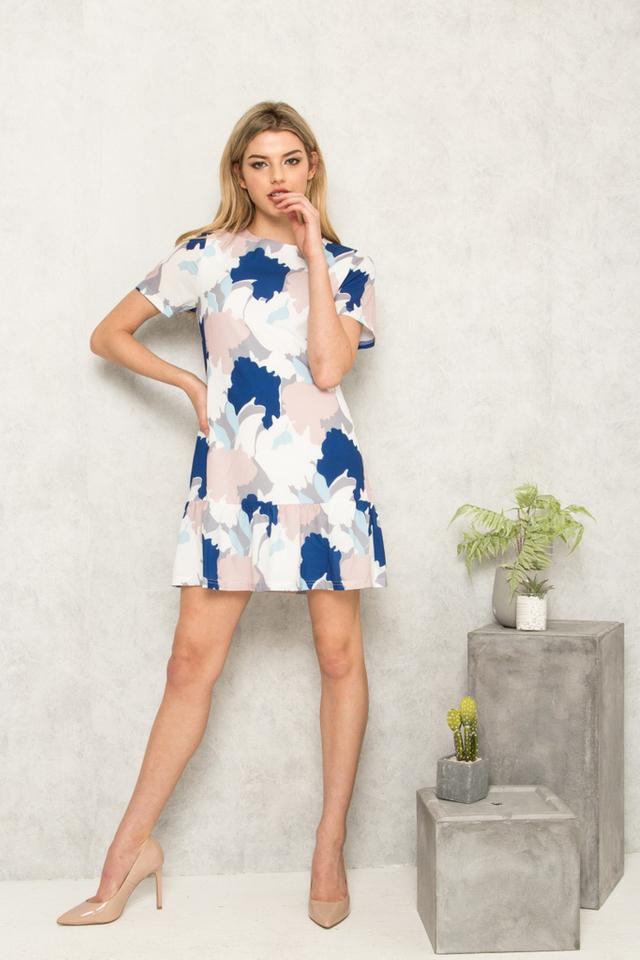 Flann Abstract Dropwaist Dress in Light Blue (S)