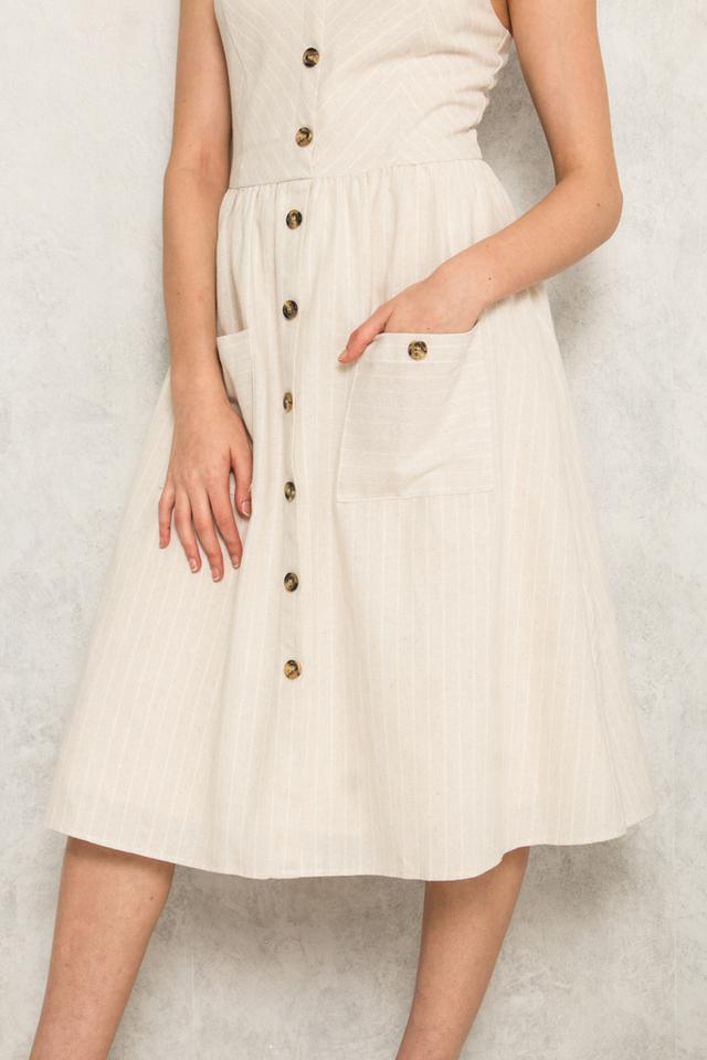 Aurelien Striped Button Midi Dress in Light Khaki