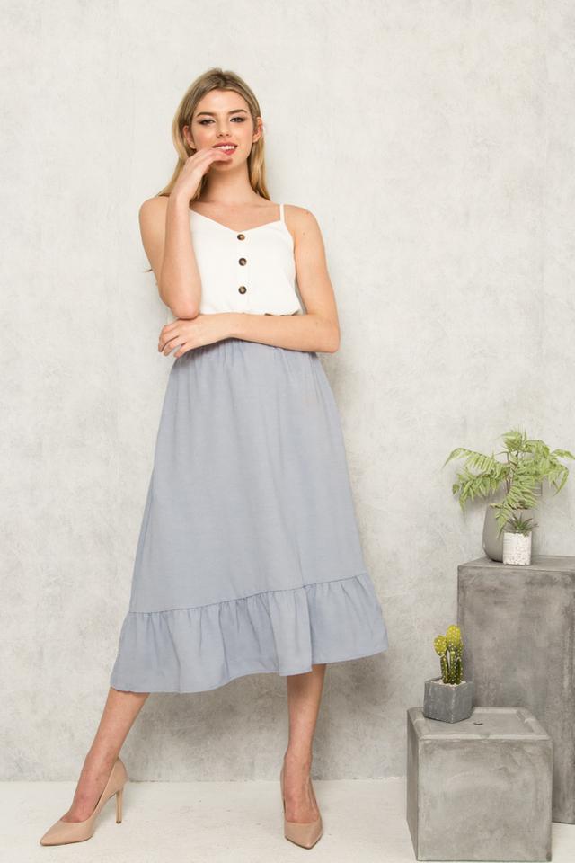 Marini Ruffles Midi Skirt in Dusty Blue
